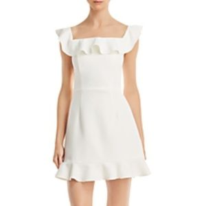 French Connection White Ruffle Square Neck Dress